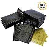 #000 4x8 Inch Pack of 60 Black Poly Bubble Mailers and 60 Thank You Stickers. Padded Shipping Envelopes Bags for Packing Goods with Self Adhesive Strip and Made Water Resistant