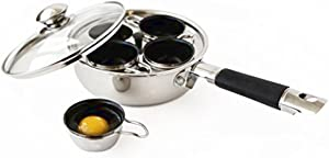 Excelsteel 18/10 Stainless Steel 4 Cup Egg Poacher, Non Stick Easy Use Rust Resistant Home Kitchen Breakfast Brunch Induction Cooktop Ready