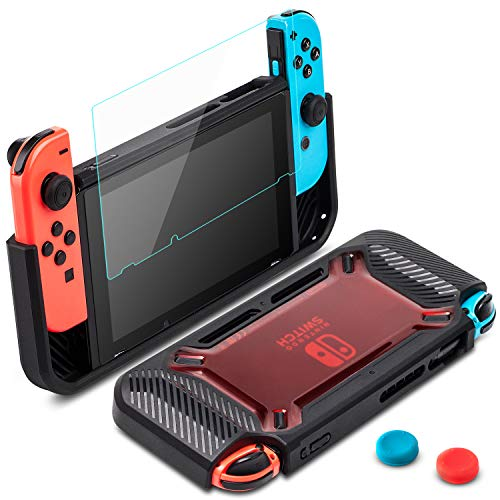 Carrying Case for Nintendo Switch with 2Tempered Glass Screen Protector,2019 Heavy Duty Protective Hard Shell Joy-Cons is Removable,Portable Pouch for Nintendo Switch Console & Accessories ()