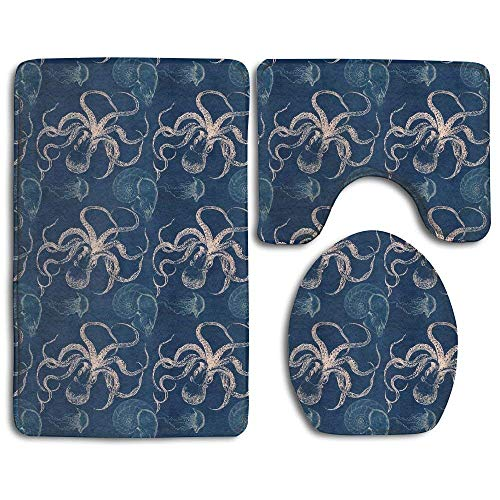 (Yuisdwz Octopus Jellyfish Nautilus 3 Piece Bath Rug Set Pattern Bathroom Rug Bath Mat+Coutour Mat+Toilet Cove)