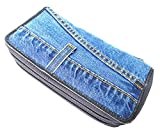 Bijoux De Ja Women Blue Denim Money Double Zipper Around Accordion Wallet Wristlet Purse Clutch DMW015