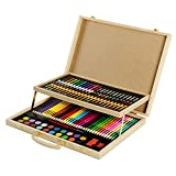 CONDA and Kiddy Color Wood Art Drawing Set for Kids in Wooden Case 108 Piece, Colored pencils Crayons, Painting