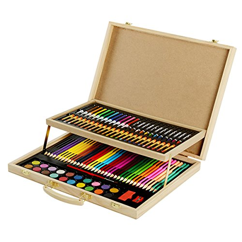KIDDYCOLOR Wood Art Drawing Set for Kids in Wooden Case 108 Piece,Colored pencils Crayons,Painting