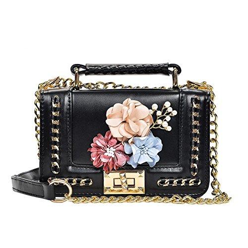 Sac PU Cabina épaule Perles Porté Bag Sac Femmes La Fleurs Mini Noir Chaîne à Designers Bandoulière à Crossbody Filles Main Sac z8pnCqw