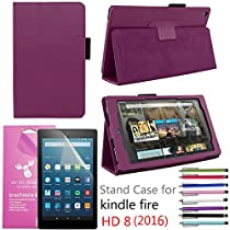 EpicGadget PU Leather Folding Folio Case with Screen Protector and Random Color Stylus for Fire HD 8 (Previous 6th Gen) (2016) - Purple