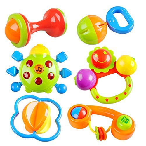 Peradix 6pcs baby rattle Bells Toy Gift Set Musical
