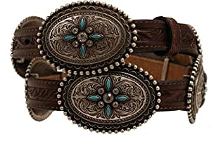 """Ariat Western Belt Womens Conchos Stone Leather 3/4"""" XL Brown A1516002"""