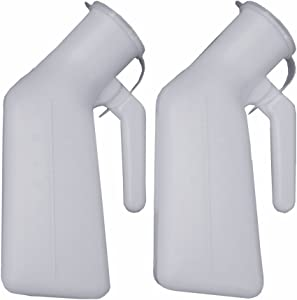 YUMSUM Thick Firm Male Urinal Urine Bottle with Lid 32oz./1000mL (White)pack of 2,