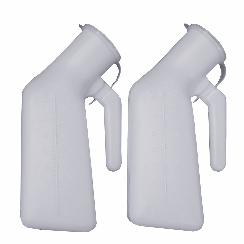 YUMSUM Thick Firm Male Urinal Urine Bottle with Lid 32oz./1000mL (White)pack of 2, by YUMSUM