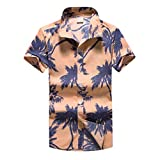 NUWFOR Men Hawaiian Print Short T-Shirt Sports Beach Quick Dry Blouse Top Blouse(Multicolor,US:XL Chest 46)