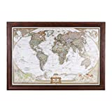 Executive World Push Pin Travel Map with Solid wood Cherry Frame and Pins 24 x 36 Picture