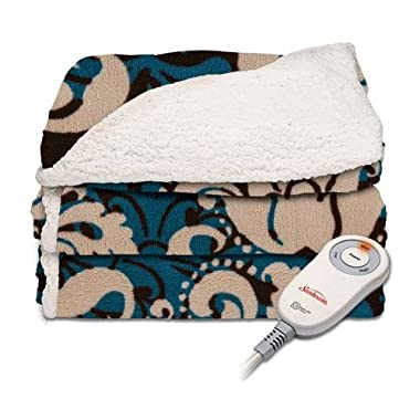 Sunbeam Electric Throw - Reversible Imperial Plush with Sherpa - Premium Sherpa and Ultra Soft with 3 Heat Settings and 3 Hour Auto-off Damask Teal, Black and Beige Theme 50 x 60