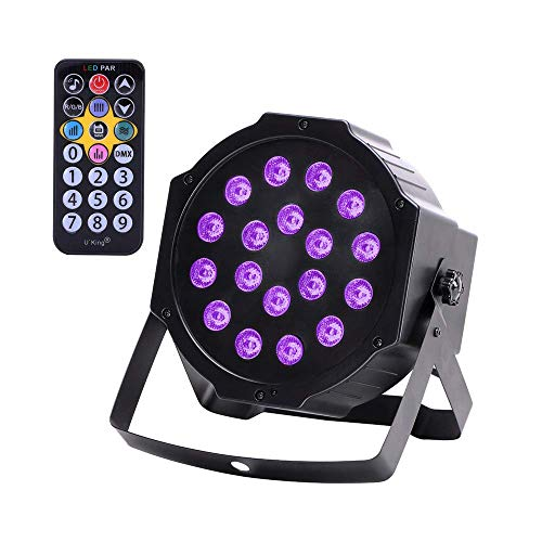 U`King UV Black Light 18W LED Par Stage Lighting Black Lights Glow in the Dark Party Supplies by DMX Controller for Neon Parties Wedding Blacklight Poster with Remote Control