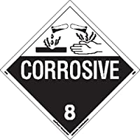 Labelmaster Z-EZ4 Corrosive Hazmat Placard, Worded, E-Z Removable Vinyl (Pack of 25)