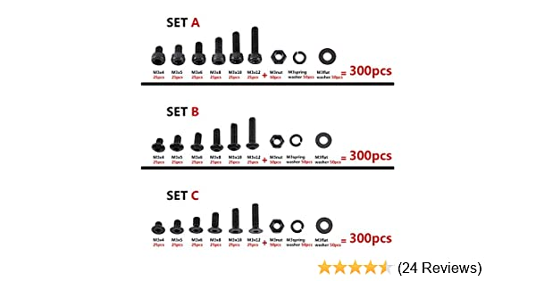 Set B Button Head 300pcs M3 Black Alloy Steel Hex Socket Screws Nuts Washer Assortment Kit