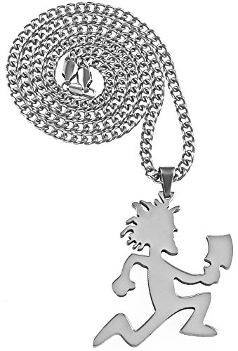 GWOOD Juggalo with Cleaver Pendant 30 Inch Cuban Necklace (Silver Color) -