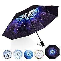 Marriarics Folding Umbrella Windproof, Black Glue Anti UV Coating, Compact Travel Umbrella for women men, Auto Open Close