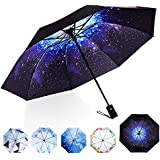 Marriarics Travel Umbrella Windproof, Black Glue Anti UV Coating, Compact Folding Umbrellas for Women Men, Auto Open Close (Starry Sky)
