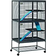 """MidWest Deluxe Critter Nation Double Unit Small Animal Cage (Model 162) Includes 2 leak-Proof Pans, 2 Shelves, 3 Ramps w/ Ramp Covers & 4 locking Wheel Casters, Measures 36""""L x 24""""W x 63""""H Inches, Ideal for Dagus, Rats, Ferrets, Sugar Gliders"""