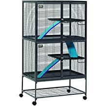 "MidWest Deluxe Critter Nation Double Unit Small Animal Cage (Model 162) Includes 2 leak-Proof Pans, 2 Shelves, 3 Ramps w/ Ramp Covers & 4 locking Wheel Casters, Measures 36""L x 25""W x 62.5""H Inches, Ideal for Dagus, Rats, Ferrets, Sugar Gliders"