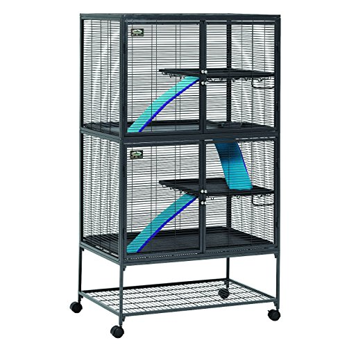 "MidWest Deluxe Critter Nation Double Unit Small Animal Cage (Model 162) Includes 2 leak-Proof Pans, 2 Shelves, 3 Ramps w/ Ramp Covers & 4 locking Wheel Casters, Measures 36""L x 24""W x 63""H Inches, Ideal for Dagus, Rats, Ferrets, Sugar Gliders"