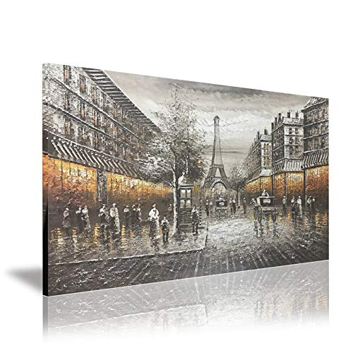 Zoyart Abstract Painting, 24x36 Inch Hand Painted Oil Paintings Modern Canvas Wall Art Paris Street Eiffel Tower Home Decorations for Living Room Bedroom Wall Decor