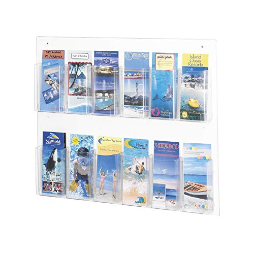 12 Pocket Display Rack - Safco Products 5671CL Clear2c Literature Display, 12 Pamphlet, Clear