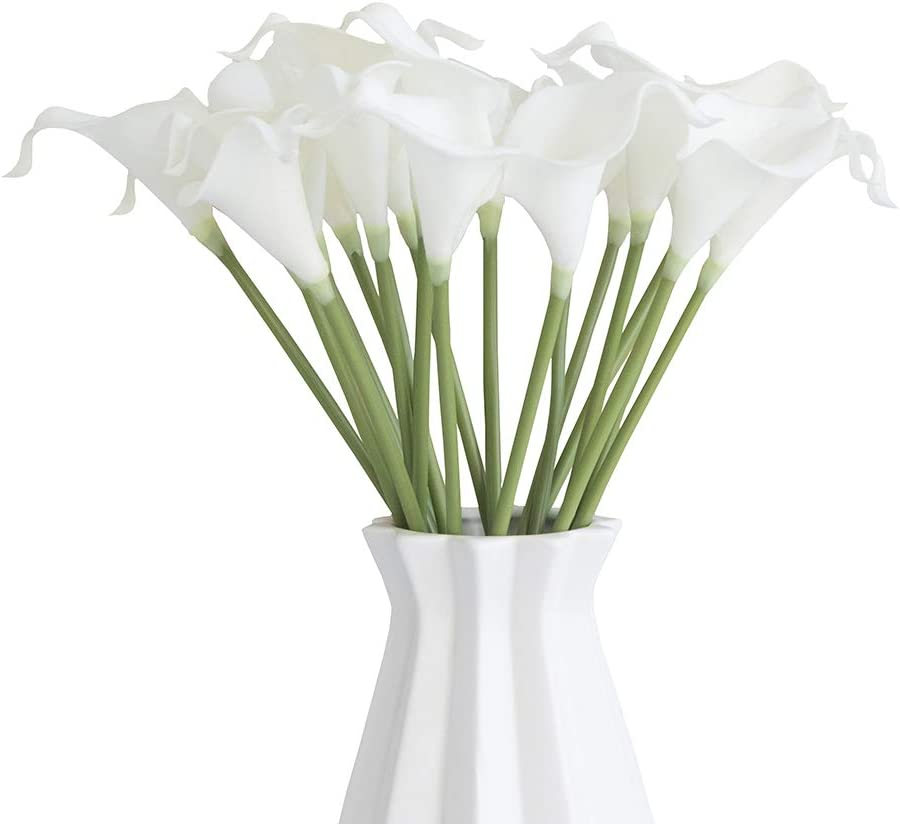 VOZLAC Artificial Flowers 20 pcs Real Touch Calla Lily Bridal Wedding Bouquet Home Garden Party Festival Decoration (White) Without vase…