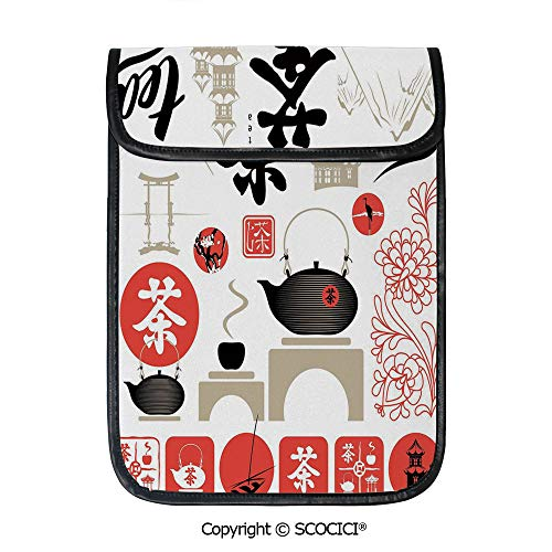 (SCOCICI Tablet Sleeve Bag Case,Japanese Design with Cultural Elements Flowers Fuji Mountain Tea Pot Decorative,Pouch Cover Cases for iPad Pro 12.9 in and Any Tablet)