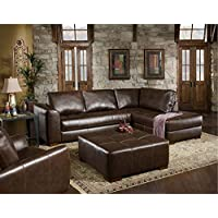 Chelsea Home Furniture Fairfax 2-Piece Sectional, Capri Dark Brown