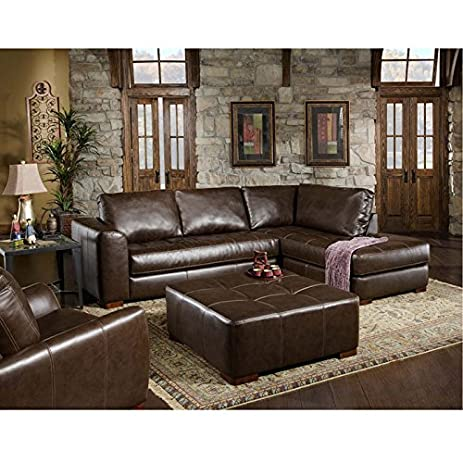 Chelsea Home Furniture Fairfax 2 Piece Sectional, Capri Dark Brown