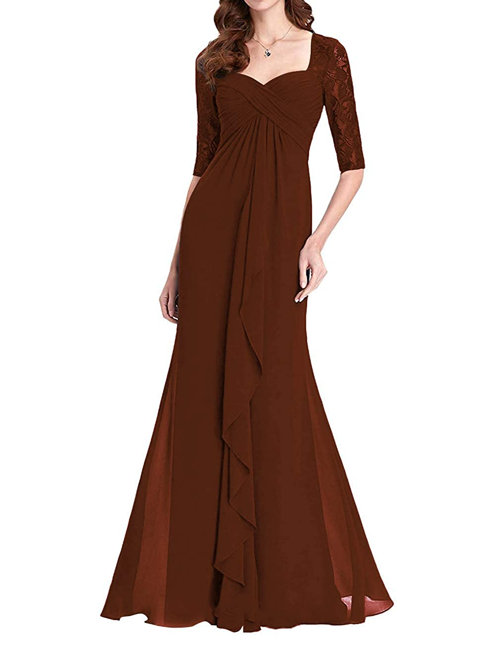 Chocolate Womens Lace Mother of The Bride Dress Plus Size Long Formal Party Gown