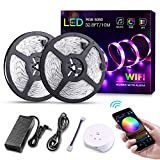 KORJO WiFi Led Light Strip, 32.8ft/10M Flexible Rope Light Kit with WiFi Led Controller & Power Supply, Waterproof 5050 RGB 600 LEDs, App Controlled Led Strip Lighting for Android, iOS and Alexa