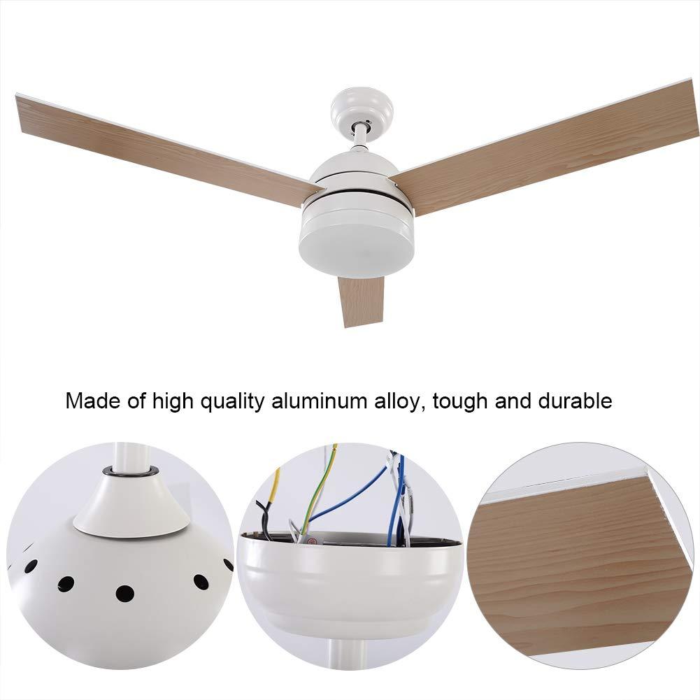 Soggiorno e Ufficio 65W GOTOTO 52 Pollice Ventilatore da soffitto Moderno con Luce per Camera da Letto Comandato da Telecomando in Acciaio Inox e Pale da Legno Naturale Bianco