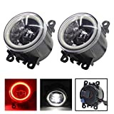 Cawanerl Car Accessories LED Fog Light Angel Eye DRL Daytime Running Light 12V Compatible Acura Honda Ford Ranger Mustang Explorer Focus Nissan Pathfinder/Xterra Armada Subaru WRX/STI Suzuki(red))
