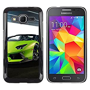 CASEMAX Slim Hard Case Cover Armor Shell FOR Samsung Galaxy Core Prime- SEXY LIME GREEN LAMBO AVENTADOR