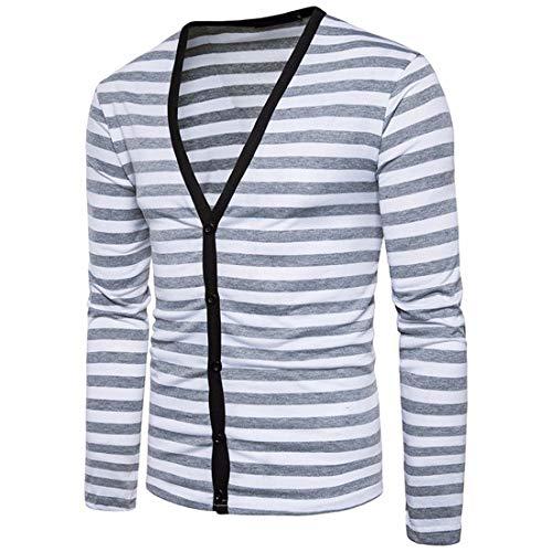 Men Airobin Slim Grey Block Longues Cardigan Basiques Rayures Manches Color À 8nrOTzqv8