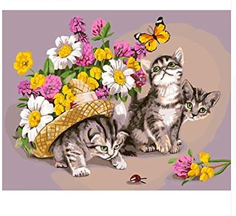 Yzrh Gatos sin Marco de Las Flores Pintura de DIY por los números Pintura de la