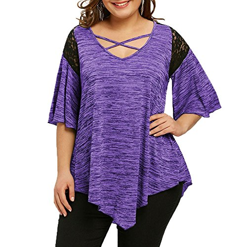 - Tootu Womens Plus Size XL-5XL Flare Sleeve Asymmetrical Tunic Lace Criss-Cross T-Shirt Blouse Top (4XL, Purple)
