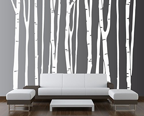 Birch Tree Wall Decal Forest with Owl Birds Squirrels Fox Porcupine Racoon Vinyl Sticker Woodland Children Decor Removable #1327 Innovative Stencils 96 Tall, Brown Trees 8ft
