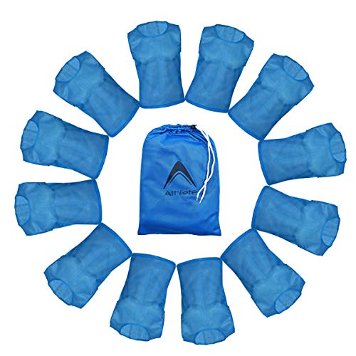 Athllete DURAMESH Set of 12 - Youth Scrimmage Vests/Pinnies/Team Practice Jerseys with Free Carry Bag (Azure Blue, Medium)