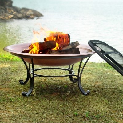 Catalina 30 Inch Durable Copper Fire Pit Set Including Spark Screen, Screen Lifting Tool, Log Grate and Storage Cover