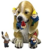 by Mark & Margot - Dog Gnome Statue Garden Figurine Mischievous Cat Massacre Companion - Best Art Décor for Indoor Outdoor Home Or Office (One Size, Mischievious Dog)