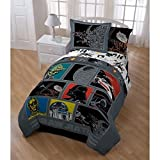 5pc Boys Star Wars Movie Patchwork Comforter Twin Set, Kids Retro Starwars Patch Work Graphic Bedding, Color Classic Death Character Darth Vader Themed Pattern Red Yellow Blue Black