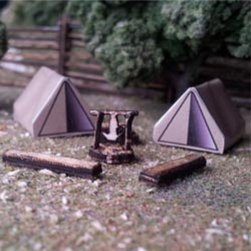Osborn Models N Scale Camping Scene Includes Tents, Fire Pit & More New Kit #3113