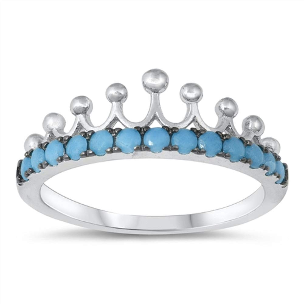 CloseoutWarehouse Simulated Turquoise Stones Royal Crown Ring Sterling Silver Size 7