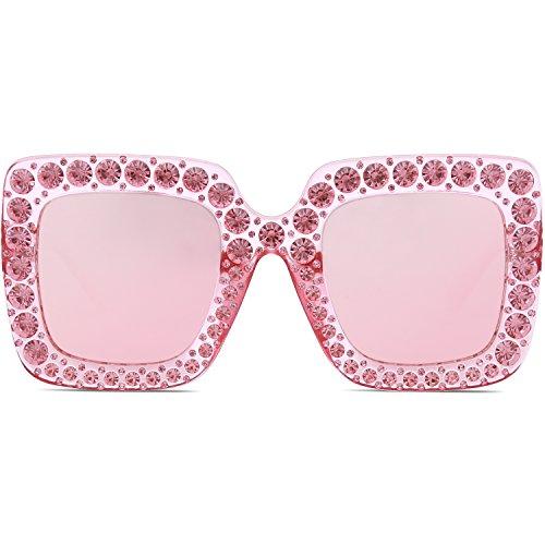 Femme Cristal Oversize C4 pour Miroir Cadre Rose Pétillant Lentille SJ2053 SOJOS Soleil Rectangulaire de Rose Lunettes qCXtwv8t