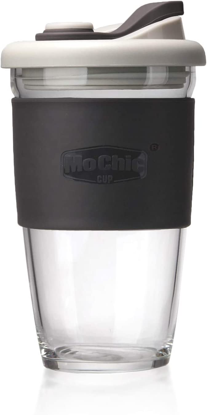 MOCHIC CUP Reusable Coffee Cup Glass Travel Mug with Lid and Non-slip Sleeve Dishwasher and Microwave Safe Portable Durable Drinking Tumbler Eco-Friendly and BPA-Free (Charcoal Gray, 16 OZ)