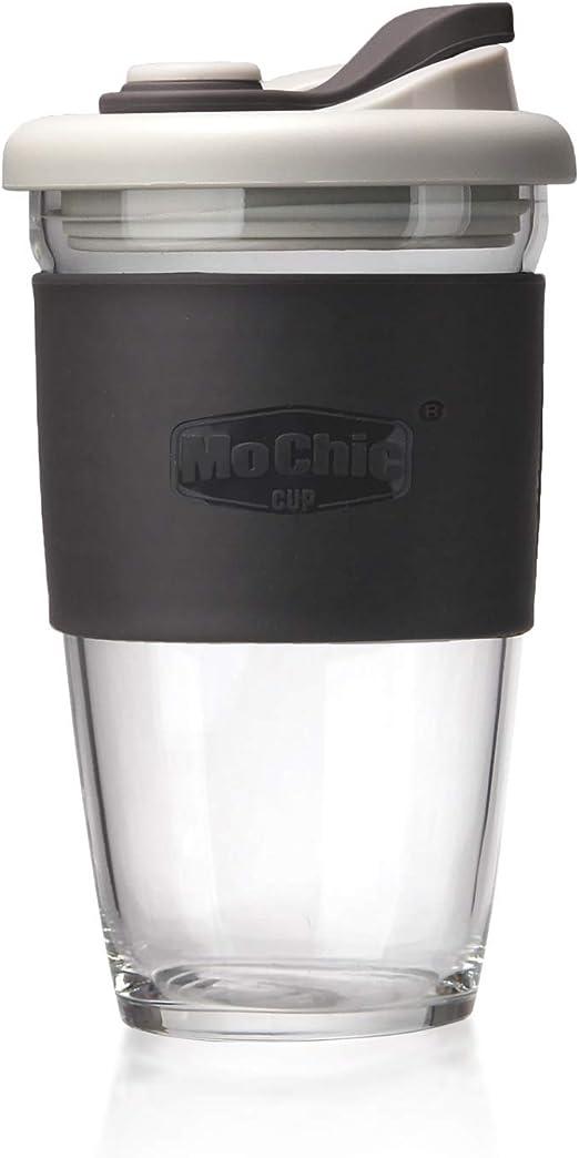 Amazon.com: Taza de café reutilizable de cristal con tapa y ...