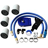 BLACKHORSE-RACING Coolant Filtration Kit 4 Filters For 2003 2004 2005 2006 2007 Ford F250 F350 F450 F550 E350 E450 & Excursion 6.0L Powerstroke Diesel with All Hardware